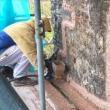 Applying lime mortar with render gun