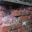 Severely damaged brickwork