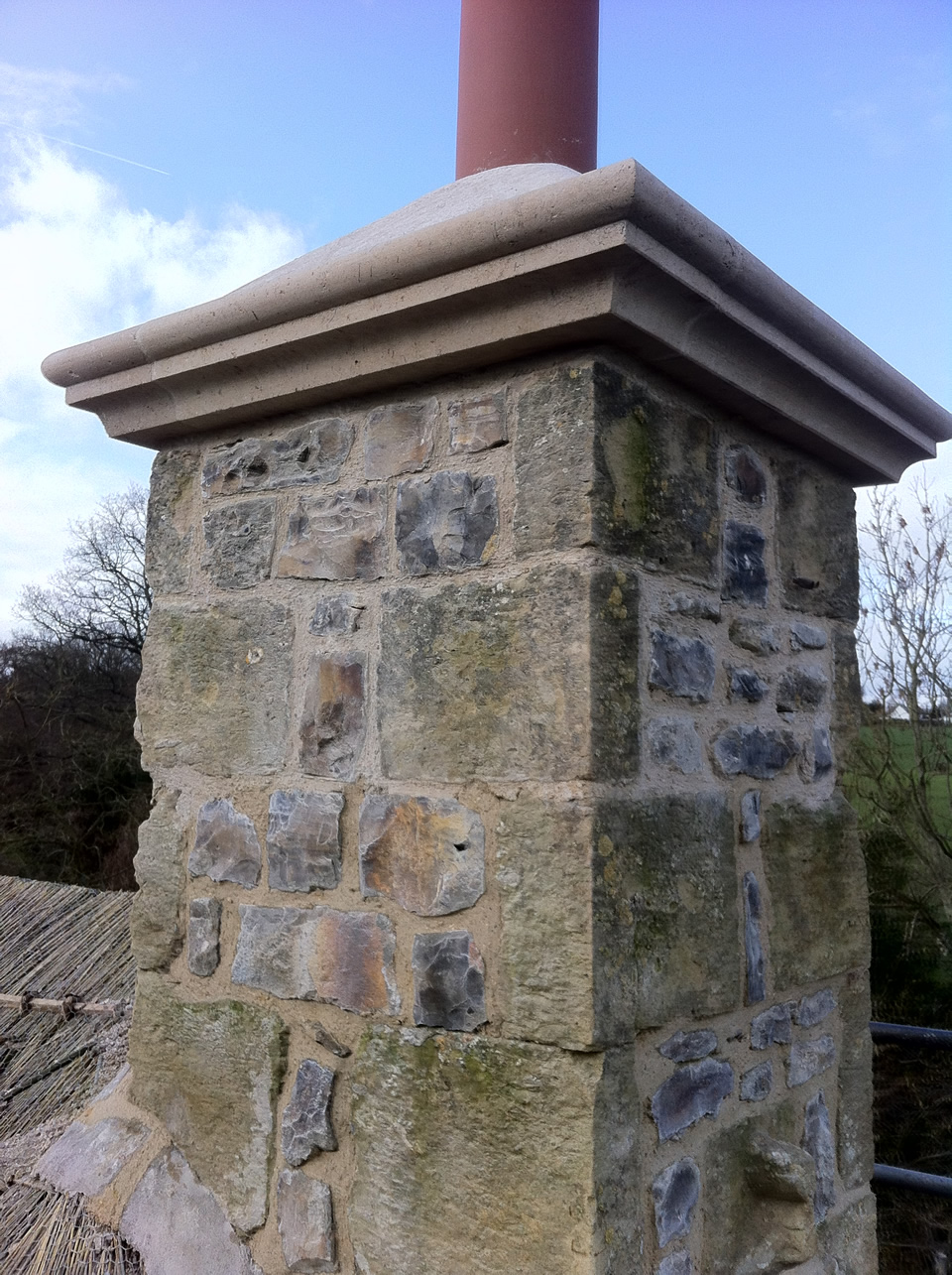Replacement Of Beer Stone Chimney Copings Cotleigh Devon