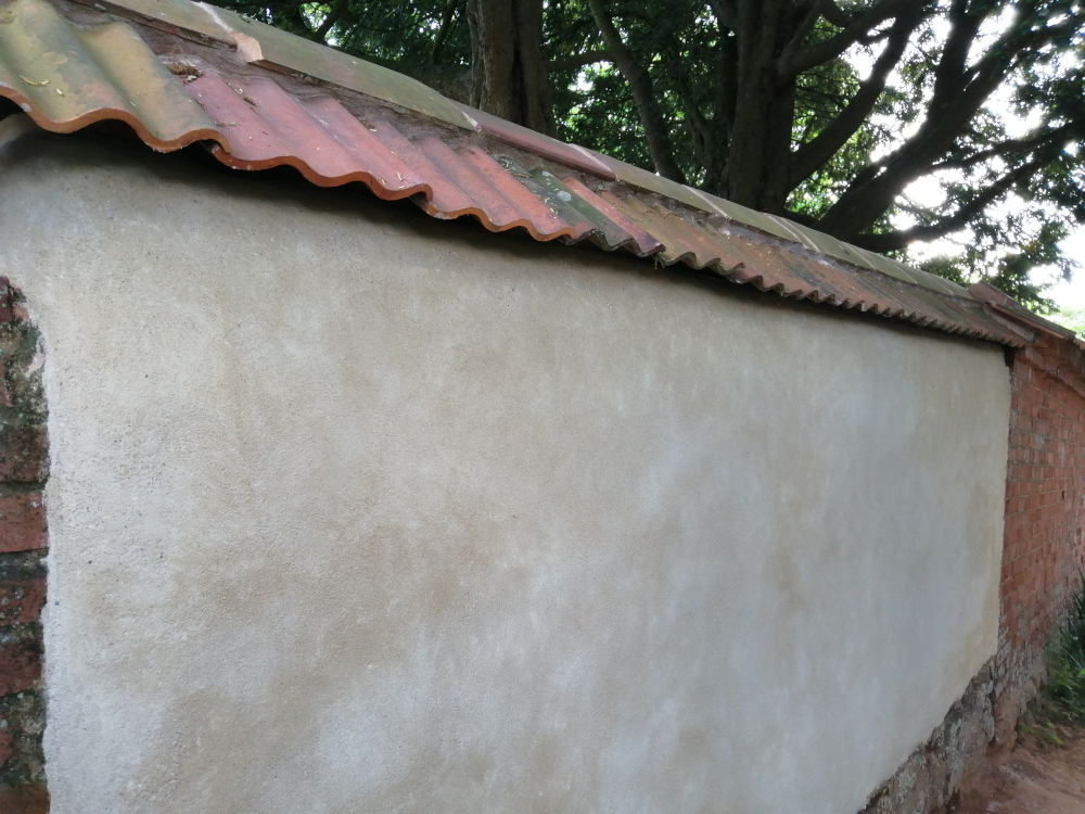 Cob repair to a wall in Exeter, Devon
